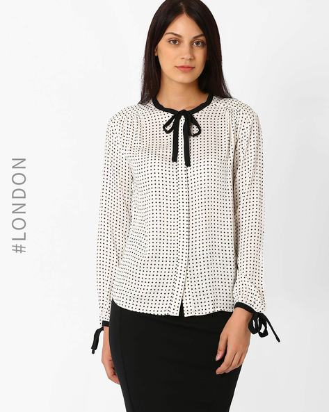 Printed Tie-Collar Top By Marks & Spencer ( Black )