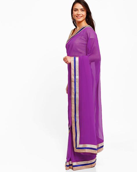 Chiffon Saree With Zari Border By Majestic Silk ( Pink )
