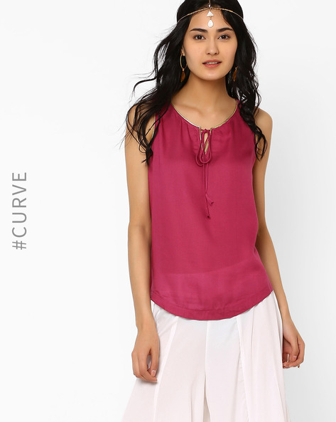 Sleeveless Top With Front Tie-Up By AJIO ( Purple )