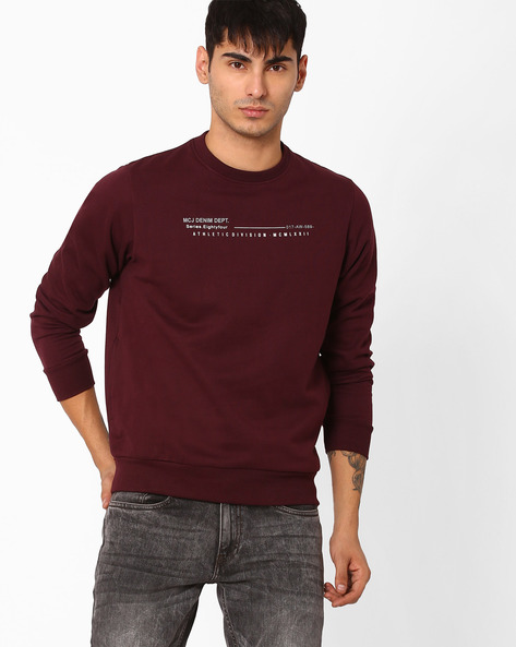 Relaxed Fit Crew-Neck Sweatshirt By MONTE CARLO ( Purple )