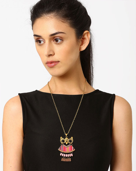 Chain With Owl-Shaped Pendant By AJIO ( Pink )