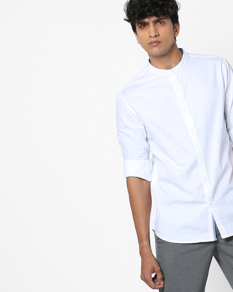 Classic Shirt With Band Collar By AJIO ( Black )