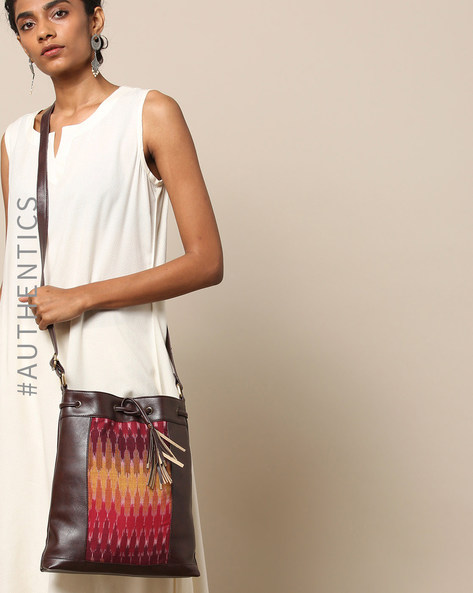 Handloom Ikat Vegan Leather Sling Bag By A BIG INDIAN STORY ( Brown )