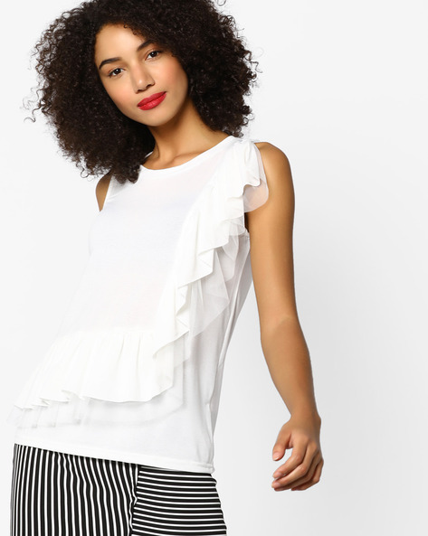 Sleeveless Top With Ruffles By Ginger By Lifestyle ( Offwhite )