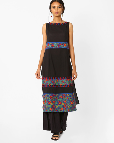 Printed Sleeveless Kurta With Embroidery By AJIO ( Black )