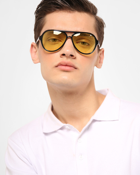 UV Protected Aviators With Top Bar By MTV ( Yellow )