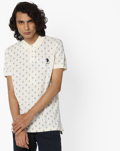 All-Over Print Polo T-shirt By US POLO ( Ivory )