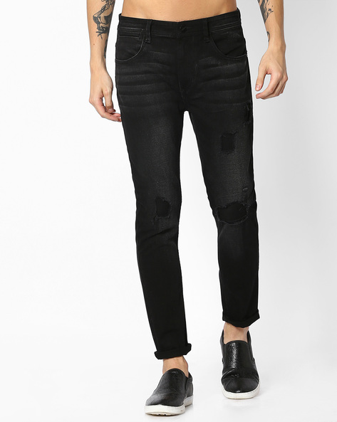 Distressed Skinny Denims By ADAMO LONDON ( Black )