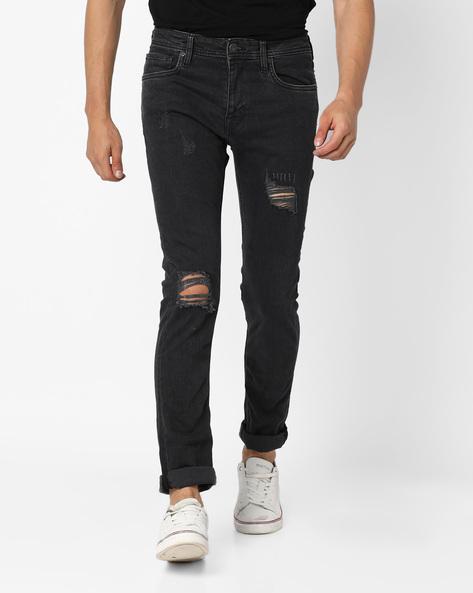 Skinny Fit Distress Jeans By Jack & Jones ( Grey )