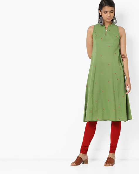 Printed Sleeveless Flared Kurta By AJIO ( Olive )