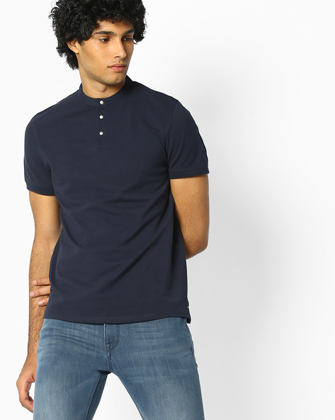 Cotton T-shirt With Band Collar By SELECTED ( Blue )