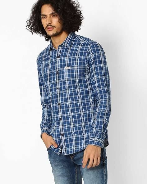 Checked Slim Fit Shirt By US POLO ( Indigo )