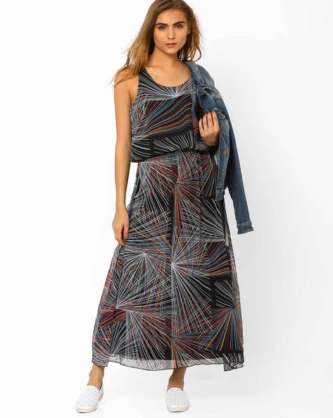 Printed Blouson Maxi Dress By Oxolloxo ( Multi )