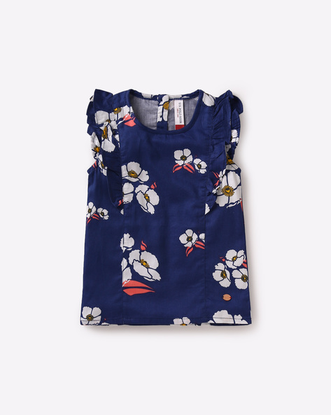Floral Print Top With Panels By USPA ( Navy )