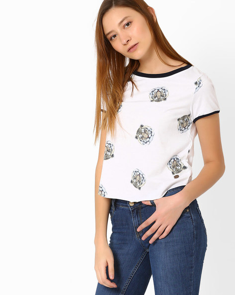 Tiger Print Short Top By Only ( White )