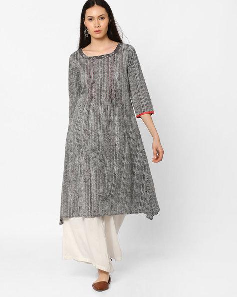 A-line Cambric Kurta With Kantha Stitch Detailing By AJIO ( Grey )