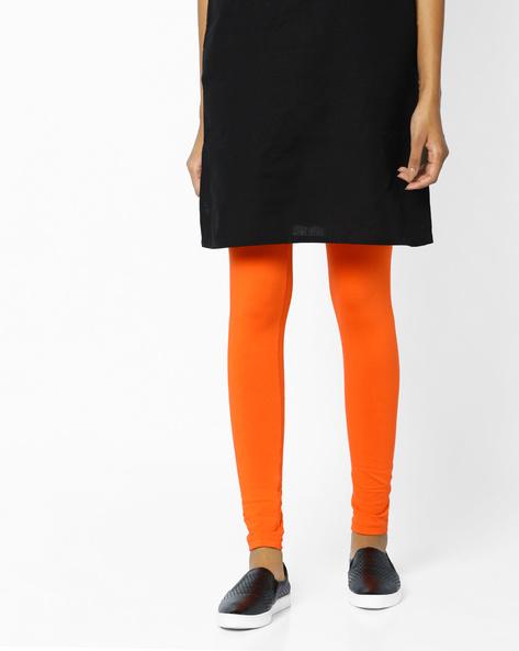 Knit Leggings With Elasticated Waistband By AJIO ( Orange )