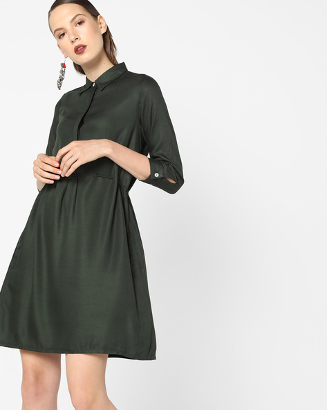 Shirt Dress With Back Waist Tie-Up By AJIO ( Olive )