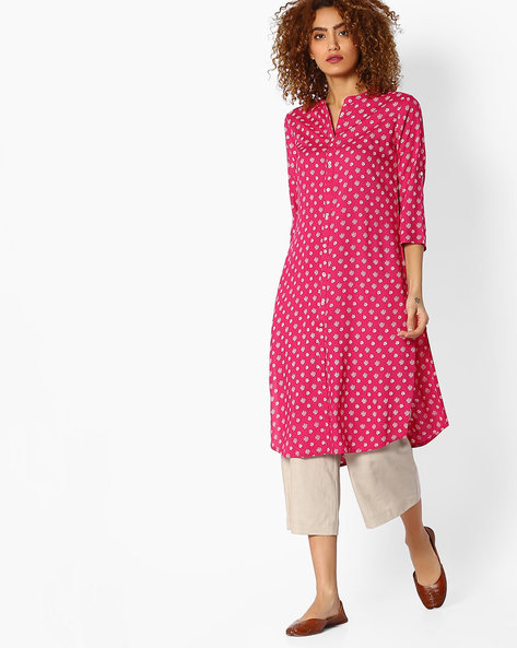 Printed Straight Kurta With Roll-Up Sleeve Tabs By AVAASA MIX N' MATCH ( Pink )