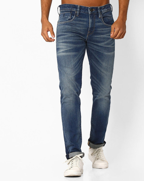 Mid-Washed Slim Fit Jeans With Whiskers By Jack & Jones ( Darkblue )