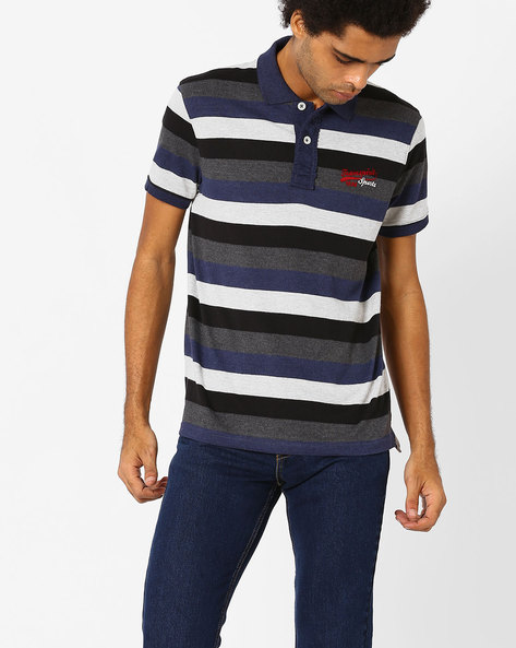 Striped Polo T-shirt By TEAM SPIRIT ( Red )