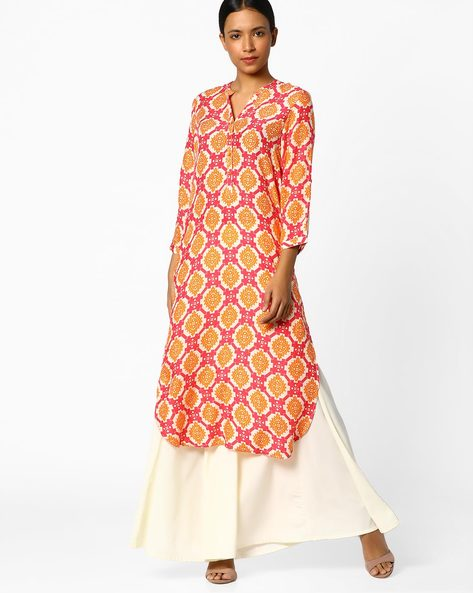Printed High-Low Kurta By Melange By Lifestyle ( Fuschia )