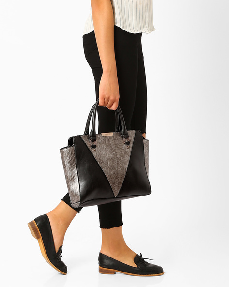 Panelled Tote Bag By Lavie ( Black )