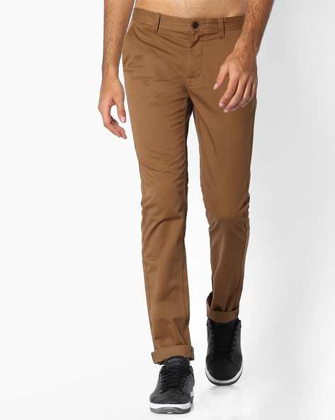 Flat-Front Slim Fit Trousers By INDIAN TERRAIN ( Darkgrey )