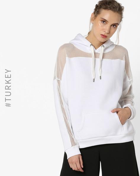 Hooded Sweatshirt With Net Yoke & Sleeves By TRENDYOL ( Cream )