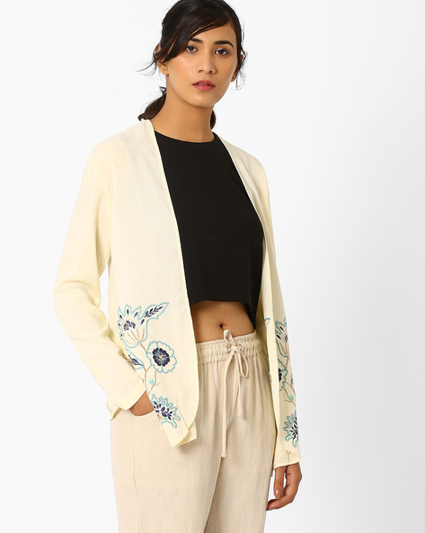 Embroidered Jacket With Asymmetric Hem By AJIO ( Offwhite )
