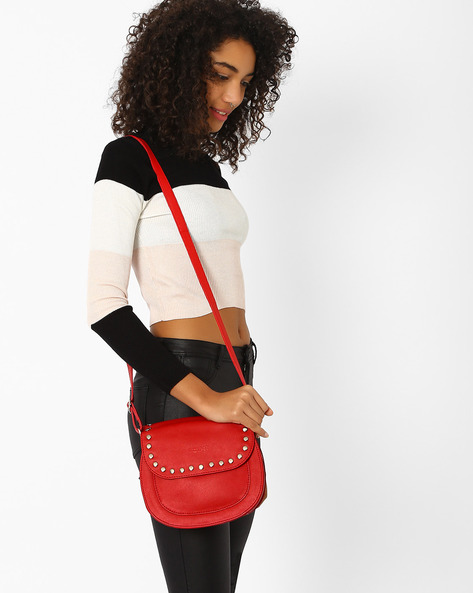 Studded Saddle Sling Bag By Pockit ( Red )