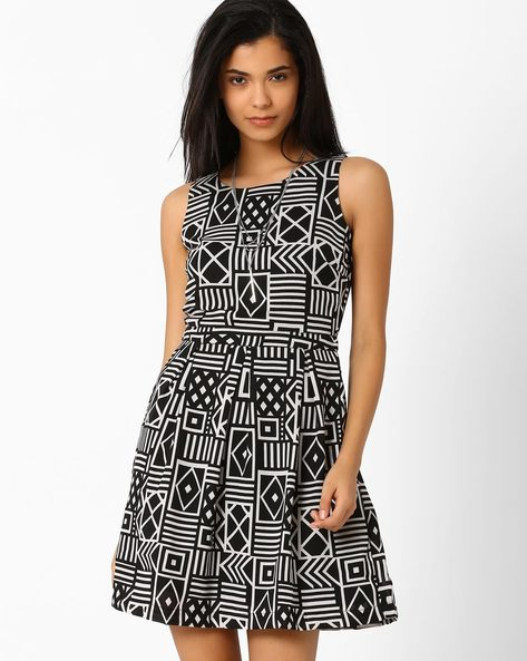 Printed Fit & Flare Dress By Candies By Pantaloons ( Black )