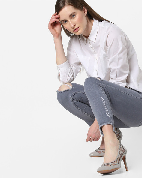 Skinny Jeans With Frayed Step Hem By AJIO ( Lightblue )