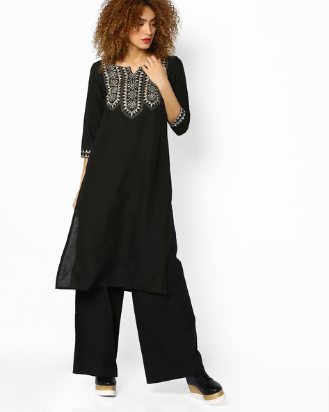 Embroidered Kurta With Side Slits By Melange By Lifestyle ( Black )