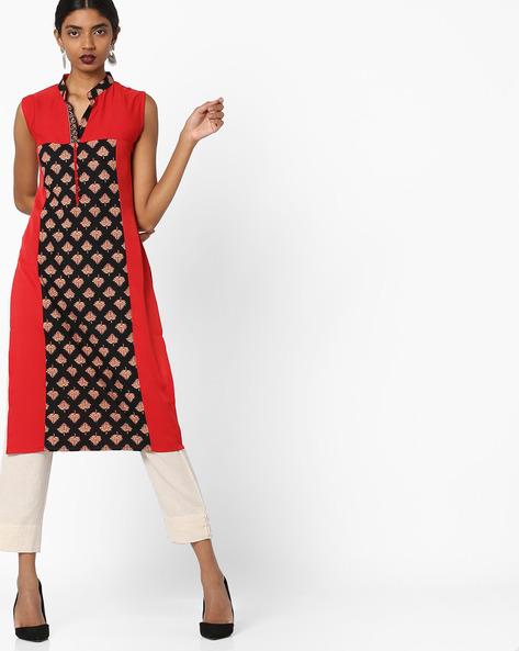 Printed Sleeveless Straight Kurta By SOCH ( Red )