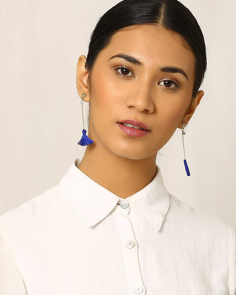 Tasselled Drop-Earrings By Indie Picks ( Blue )