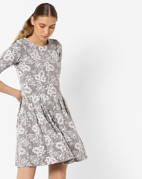 Floral Print A-line Dress By ANONYMOUS CO ( White )
