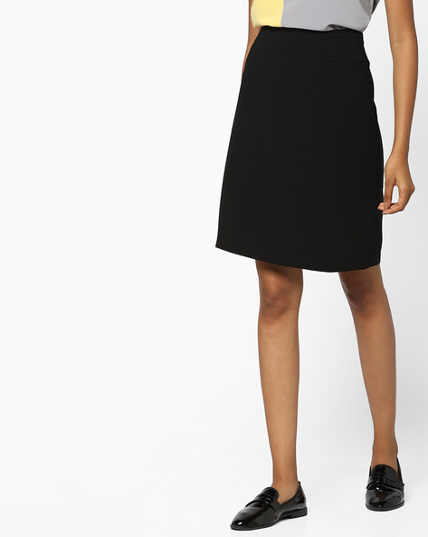 A-line Skirt With Pleats By AJIO ( Black )