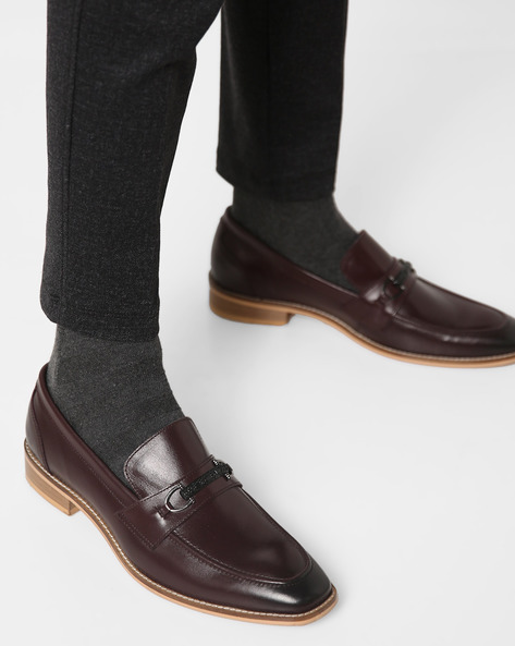 Genuine Leather Slip-On Loafers By Acuto ( Burgundy )