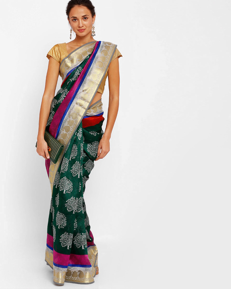 Printed Art Silk Saree By Diva Fashion ( Green )