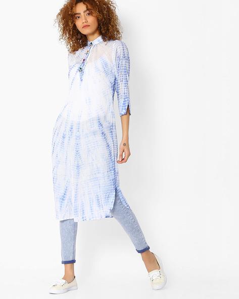 Straight Kurta With Curved Hem By Sassafras ( Blue )