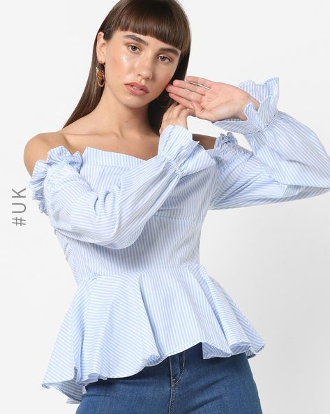 Striped Off-Shoulder Peplum Top By OEUVRE ( Blue )
