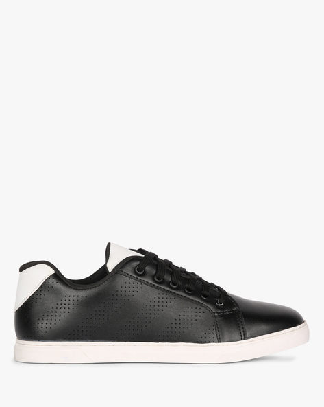Textured N-9 Treated Sneakers With Perforation By AJIO ( Black )