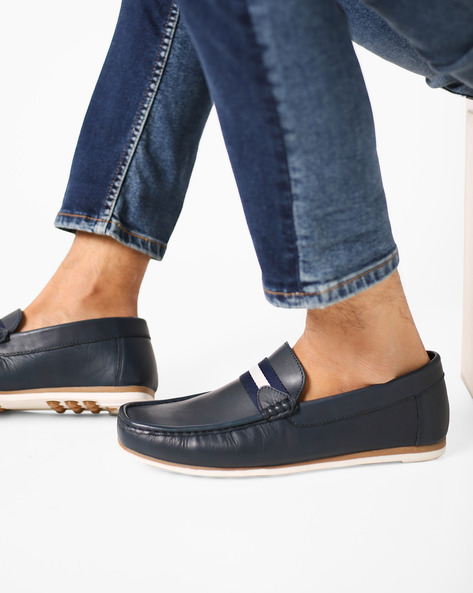 Genuine Leather Loafers With Overlay By Carlton London ( Blue )