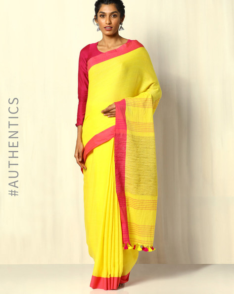 Handloom Bengal Cotton Herringbone Saree With Tassels By Indie Picks ( Yellow )