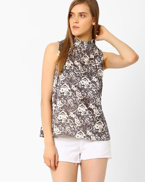 Floral Print Sleeveless Top By CHM ( Multi )