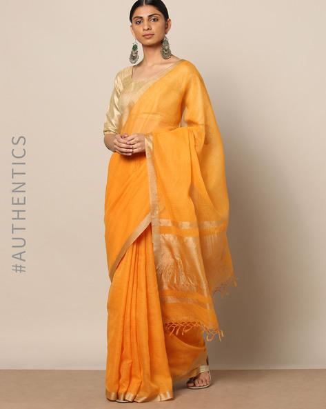 Handloom Pure Silk Cotton Saree With Zari Border By Indie Picks ( Orange )