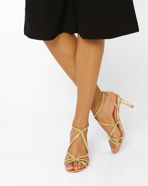 Strappy Open-Toe Stilettos By AJIO ( Gold )