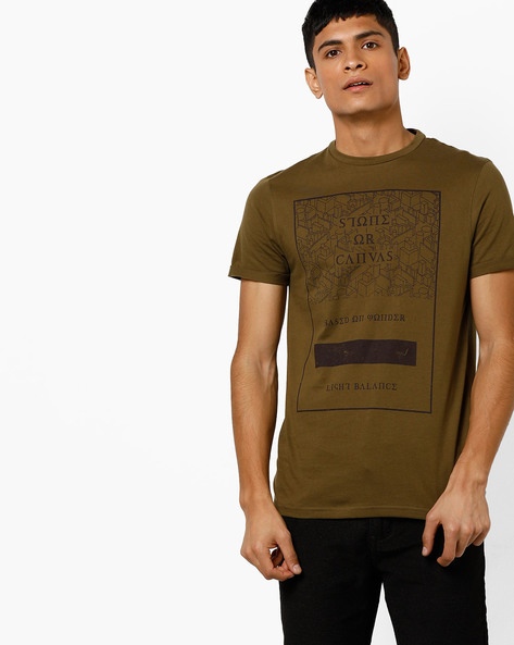 Crew-Neck Graphic Print T-shirt By AJIO ( Olive )