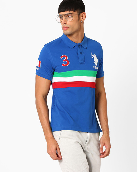 Polo T-shirt With Vented Hem By US POLO ( Blue )